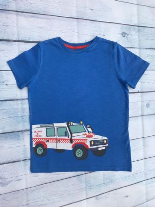 Mini Boden blue applique fire and rescue vehicle tshirt age 6-7